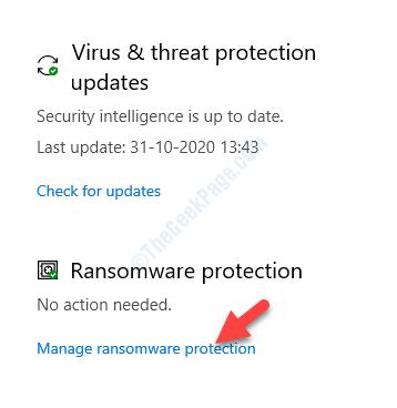 Protezione da virus e minacce Protezione da ransomware Gestisci la protezione da ransomware