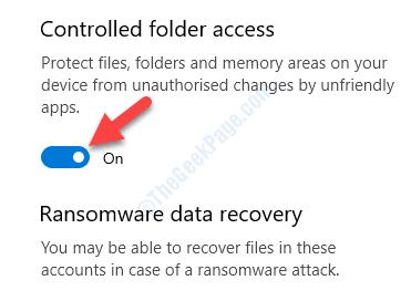 Protezione ransomware Accesso controllato alle cartelle Abilita