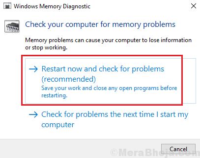 Riavvia ora e verifica la presenza di problemi di memoria