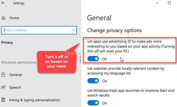 Generale Modifica le opzioni di privacy Consenti alle app di utilizzare l'ID pubblicità On o off