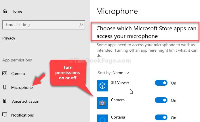 Scegli quali app di Microsoft Store possono accedere al tuo microfono Attiva o disattiva le autorizzazioni