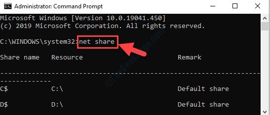 Prompt dei comandi Modalità di amministrazione Eseguire Command Net Share