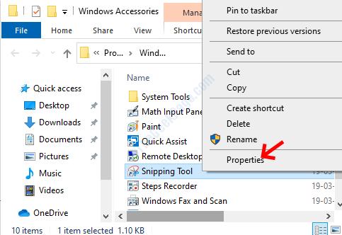 Strumento di cattura della posizione dei file Fare clic con il pulsante destro del mouse su Proprietà