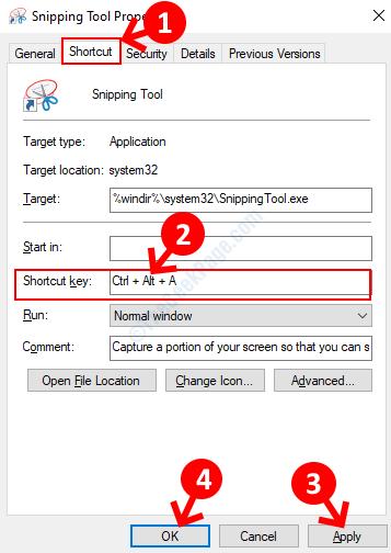 Proprietà dello strumento di cattura Scheda di scelta rapida Tasto di scelta rapida Applica OK