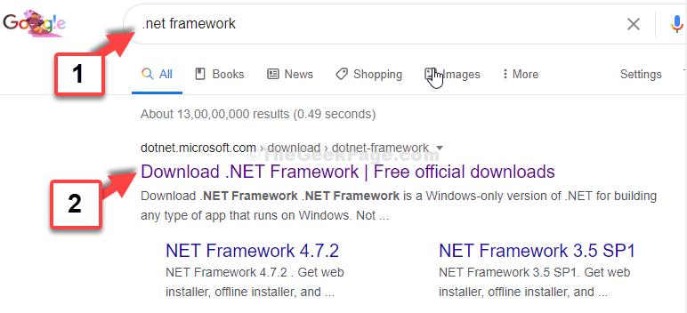 Ricerca di Google .net Framework Primo risultato dal sito Web ufficiale di Microsoft