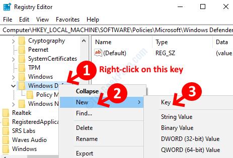 Windows Defender Fare clic con il pulsante destro del mouse su Nuova chiave
