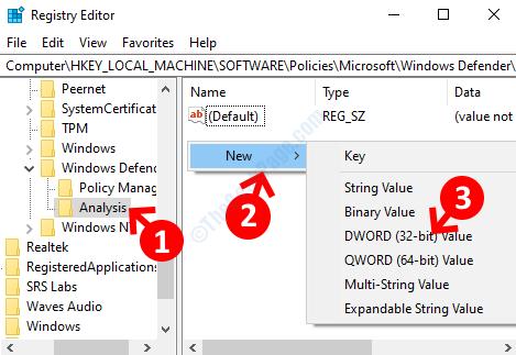 Rinomina nuova analisi chiave Spazio vuoto sul pulsante destro Fare clic con il pulsante destro del mouse sul nuovo valore Dword (32 bit)