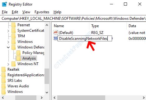 Dword (32-bit) Value Rename Disabilita la scansione dei file di rete