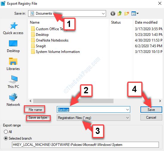 Esporta file di registro Seleziona posizione Nome file Backup Salva come tipo File di registro Salva