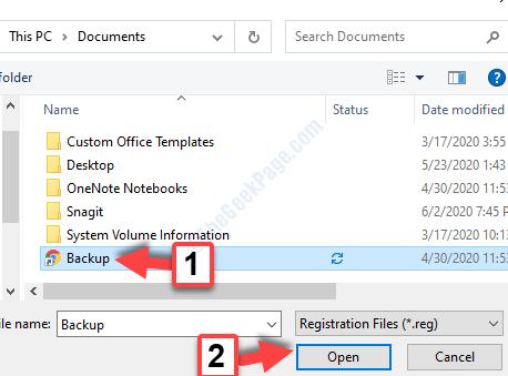 Editor del registro di sistema Importa backup Apri