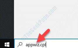 Barra di ricerca di Windows Cerca Appwiz.cpl