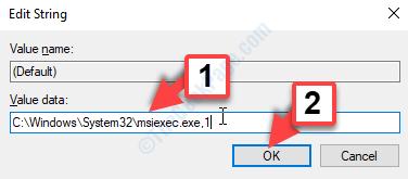 Modifica i dati del valore stringa da 0 a 1 OK