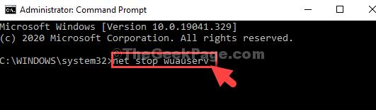 Prompt dei comandi in modalità amministratore Esegui comando Net Stop Wuauserv Invio