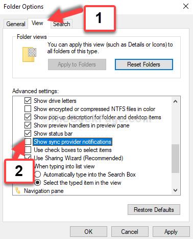 Opzioni cartella Scheda Visualizza Deseleziona Mostra notifiche del provider di sincronizzazione Applica OK