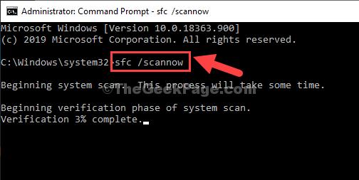 Prompt dei comandi Admin Mode Sfc Scannow Enter