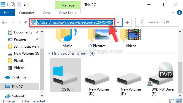 Win + E File Explorer Incolla il file copiato nella barra degli indirizzi Invio