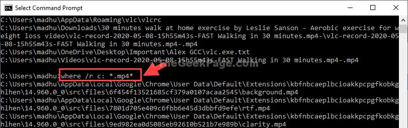 Esegui il comando per estrarre i file in formato Mp4 Invio