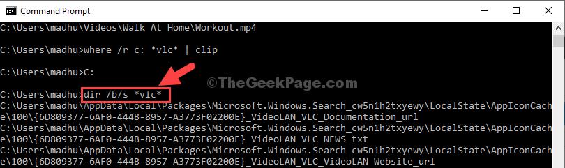 Esegui comando directory con il nome file desiderato Invio