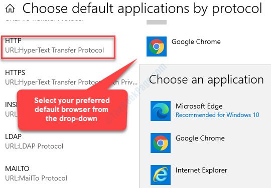 Scegli le applicazioni predefinite in base al protocollo Http Seleziona il browser predefinito