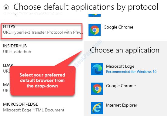Scegli le applicazioni predefinite in base al protocollo Https Seleziona il browser predefinito