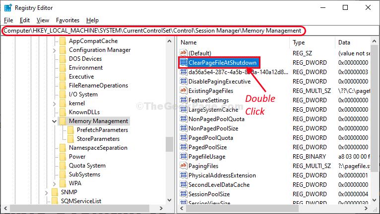 Elimina il file di paging facendo doppio clic su Shudown