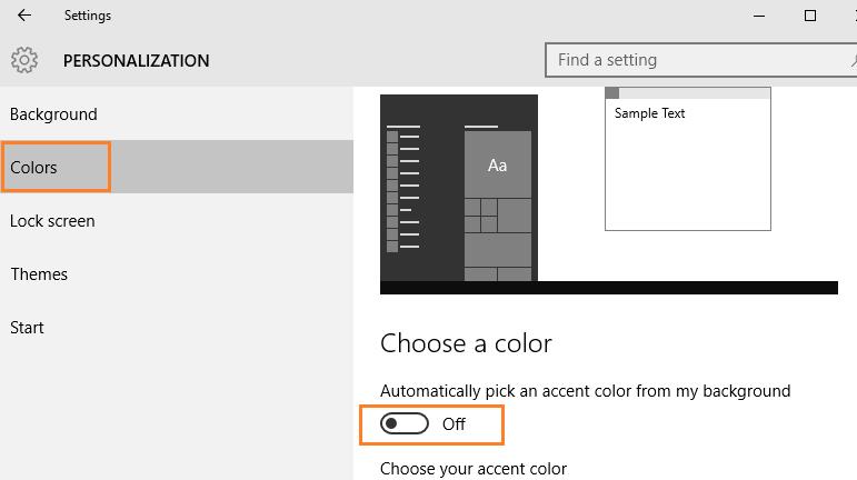 spegnimento automatico del colore