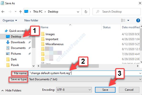Nome file desktop Assegnalo al nome all'interno di quortes Aggiungi .reg Salva con nome