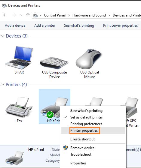fare clic con il pulsante destro del mouse sulla stampante