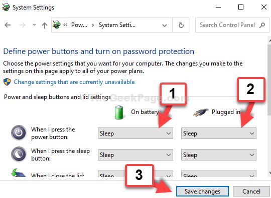 Impostazioni di sistema quando si preme il pulsante di accensione in standby della batteria collegata in standby Salva modifiche