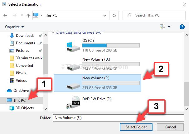 File Explorer Questa cartella di selezione dell'unità di collegamento del PC