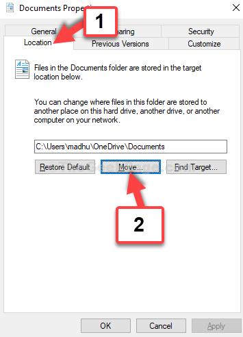 Spostare la scheda Posizione delle proprietà del documento