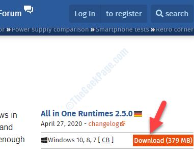 Download All In One Runtime Aprire il collegamento nel download del browser