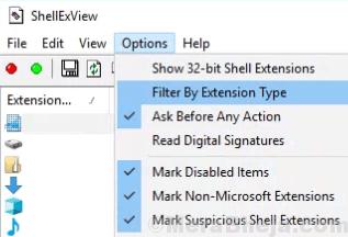 Opzione Filtro Tipo di estensione Min.