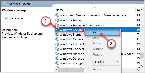 Avvio di Windows Backup