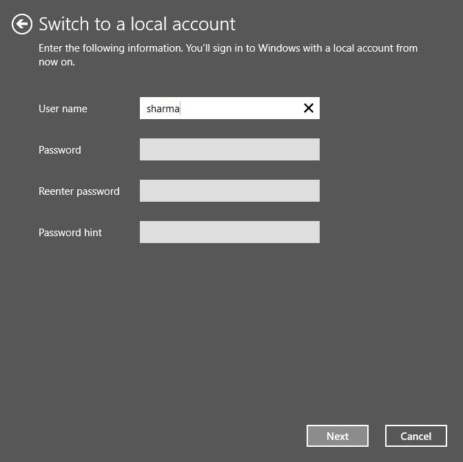 Reinserire la password