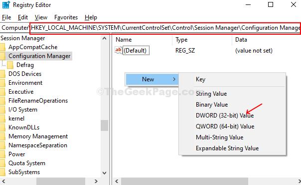 Vai al percorso, fai clic con il pulsante destro del mouse sul pannello Emty, seleziona Nuovo, fai clic su Valore Dword (32 bit)
