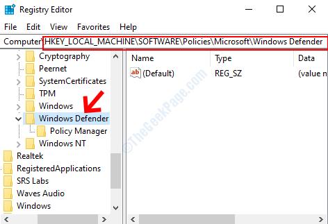 Vai al percorso di Windows Defender Fare clic con il tasto sinistro una volta