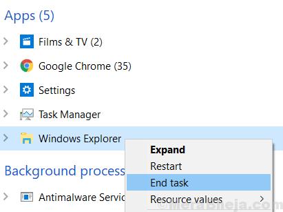Minuto dell'attività finale di Windows Explorer