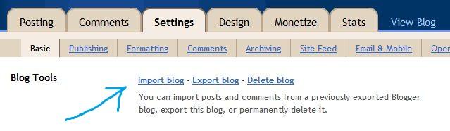 importa il blog nel blogger