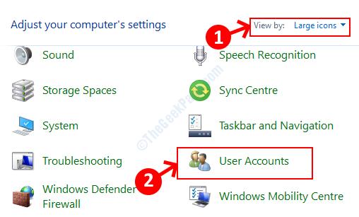 Visualizzazione del pannello di controllo tramite icone grandi Account utente