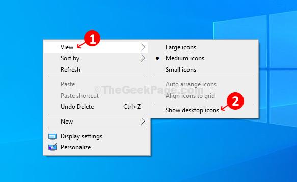 Fare clic su Visualizza e quindi su Mostra icone del desktop per nascondere le icone