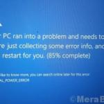Correggi la schermata blu INTERNAL_POWER_ERROR in Windows 10