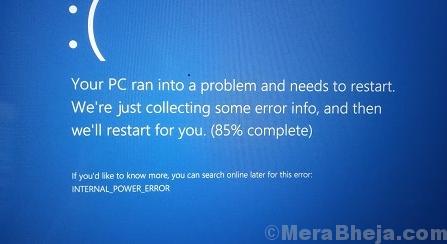 Schermata blu di errore di alimentazione interna in Windows 10