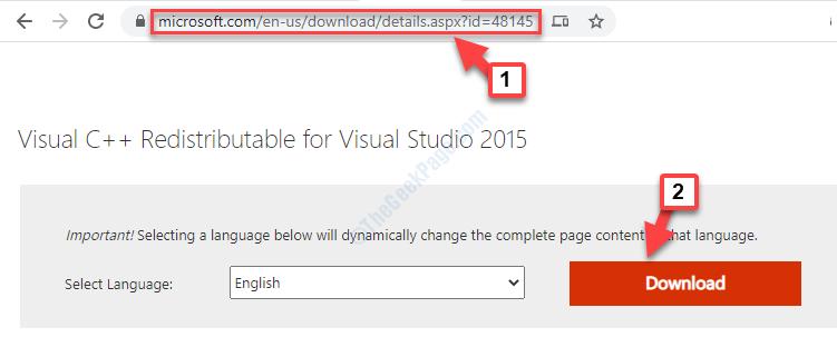 Collegamento dalla pagina di download ufficiale di Microsoft per il download del file Dll