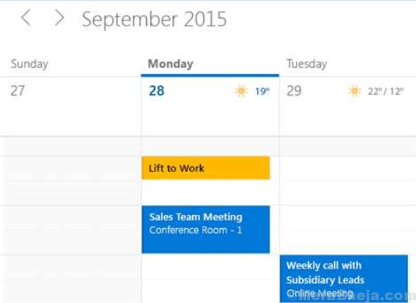 Calendario di Microsoft Mail