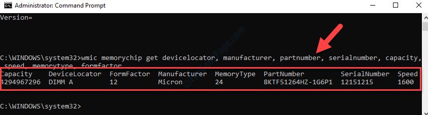 Prompt dei comandi (admin) Esegui il comando per dettagli di memoria specifici Invio