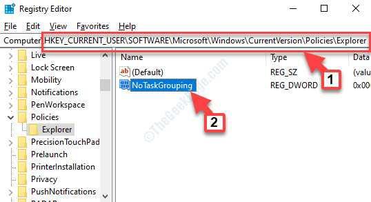 Editor del registro di sistema Accedere a Path Explorer Notes kgrouping