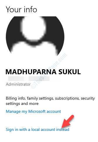 Impostazioni account di Microsoft Account Manager Accedi invece con un account locale