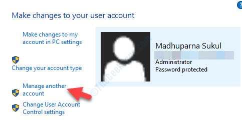 Account utente Lato destro Gestisci un altro account