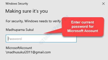 Protezione di Windows Assicurati di inserire la password corrente per l'account Microsoft